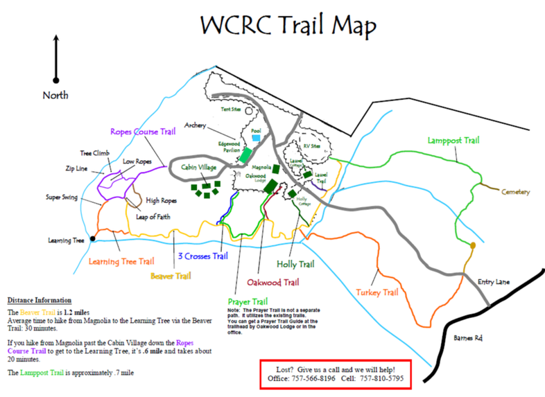 Hiking Trail Map for WCRC Toano,VA