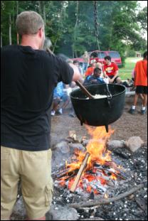 enjoy popcorn outdoors at three crosses campfire in Williamsburg, VA